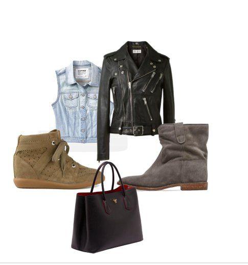 Capispalla, sneakers, stivaletti, chiodo in pelle e shopping bag da acquistare con i saldi e usare tutto l'anno! fonte: Polyvore
