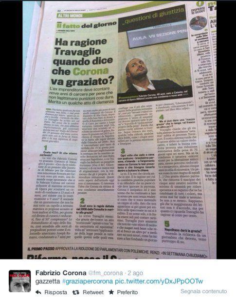 La Gazzetta parla della grazia di Fabrizio Corona