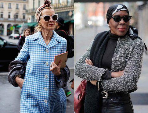 Signora in blu e azzurro (fonte: thesartorialist.com) e in bianco e nero (advancedstyle.blogspot.com)