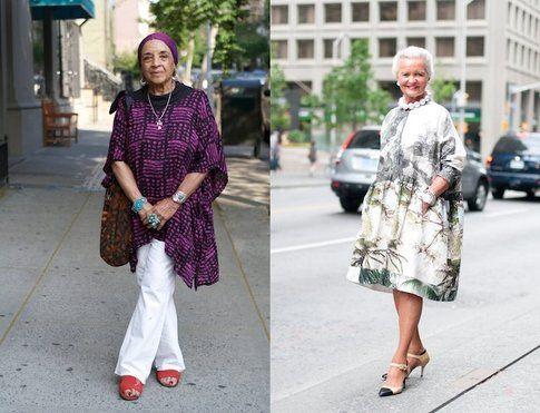 Una splendida 80enne a NY e Gloria Sharp in Dries van Noten - fonte: advancedstyle.blogspot.it e silhouettedskyline.com