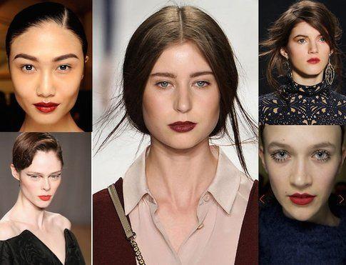 Labbra rosso scuro e occhi naturali - proposte di :Prada, Tadahi Shoji, Rebecca Minkoff, Naeem Khan, Zac&Posen