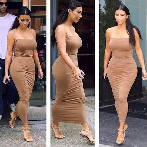 Kim in un tubino fasciatissimo - Fonte: celebuzz