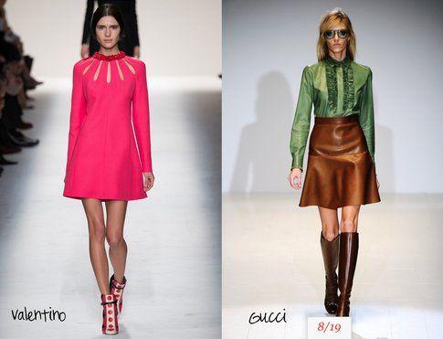Le proposte anni '60 di Valentino (con abito ad A) e Gucci (che punta su un look più maschile)- fonte : Indigitalimages.com