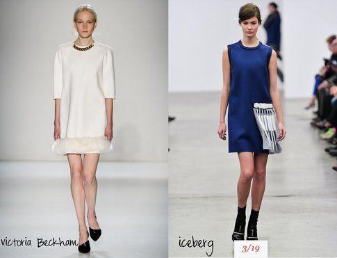 Semplici ma molto efficaci le proposte bianche e blu di Victoria Beckham e Iceberg- fonte : Indigitalimages.com