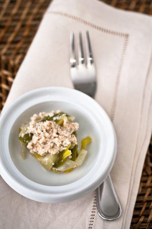 Fettuccine di porro con crema di noci. Ricetta e foto del blog Peperoni e Patate.
