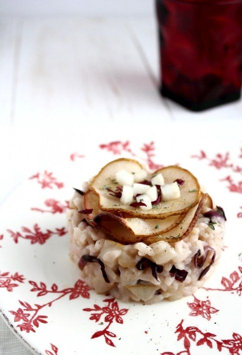 Risotto pere e radicchio. Ricetta e foto dal blog 'Oggi pane e salame, domani...'