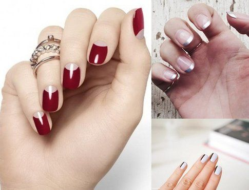 Proposte di moon manicure, french metal e diagonal french