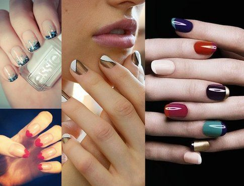 Collage di Manicure french, diagonali, bicolor e oblique perfette per quest'inverno!