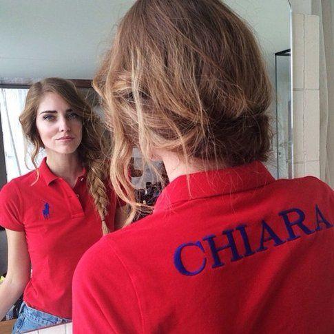 Chiara Ferragni e la sua polo Ralph Lauren personalizzar con il nome