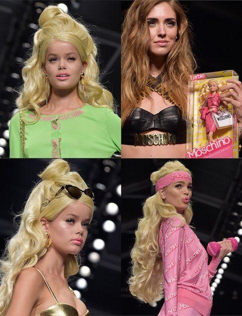 Dalla sfilata P/E 2015 di Moschino i look barbie delle modelle e di Chiara Ferragni, blogger di The Blonde Salad e quasi Barbie!