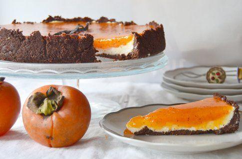 Cheesecake autunnale al sapore di cachi e vaniglia. Ricetta e foto di Roberta Castrichella.