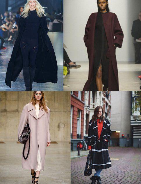 Collage di cappotti semplici e lineari in blu, marrone, rosa e anche fantasia- fonte: stylescrabook.com e vogue.it