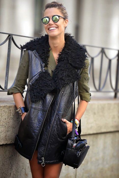 Long Vest In pelle e pelliccia