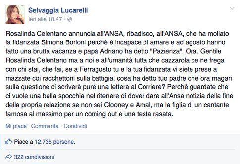 Fonte: Facebook Selvaggia Lucarelli