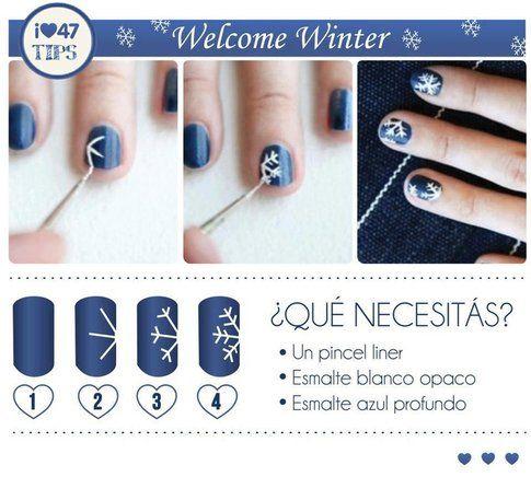 Nail art fiocco di neve - foto Pinterest