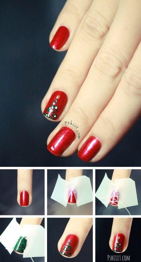 Nail art albero di natale sfondo rosso - Pinterest via Pshiit.com