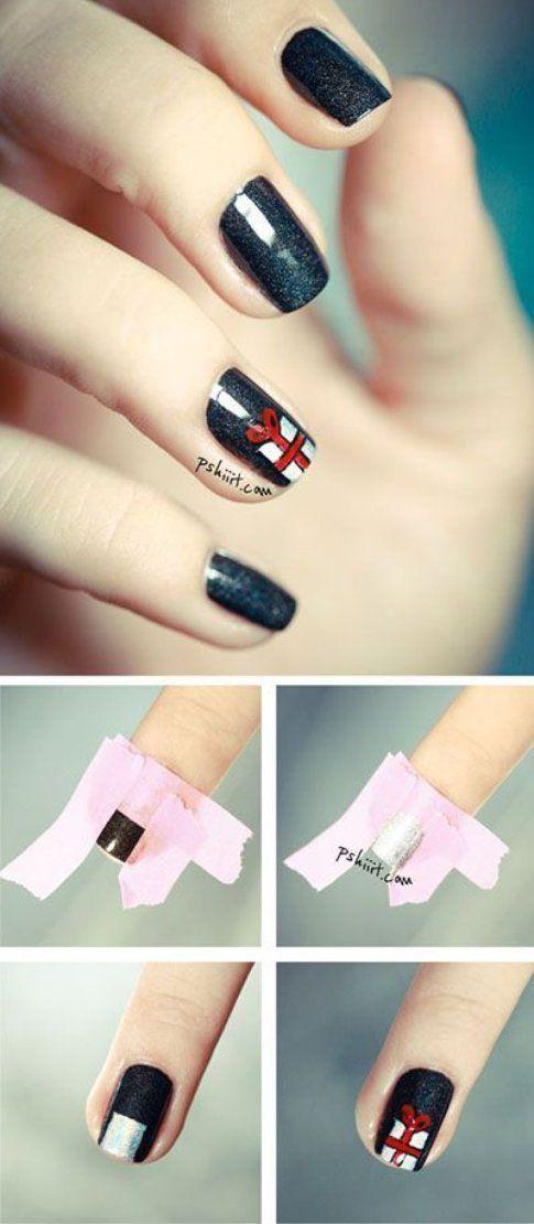 Nail art pacco di Natale - Pinterest via Pshiit.com