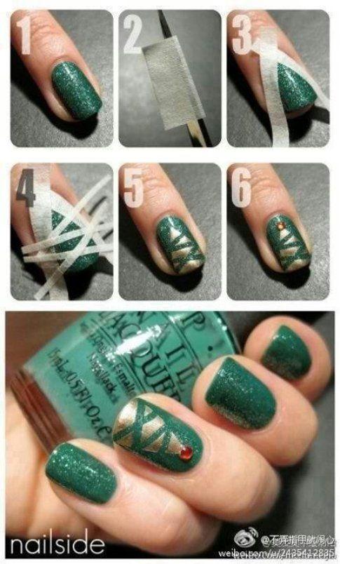 Nail art albero di natale sfondo verde - Pinterest Via Tiffany Statkiewicz