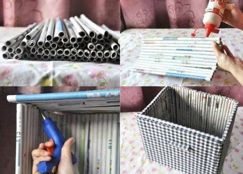 Contenitori fatti in casa con giornali riciclati - Foto: Pinterest