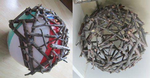 Palline di Natale con legno - Fonte:  www.diy-queen.com