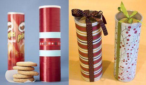 I tubi delle Pringles come porta biscotti - Fonte Pinterest.com