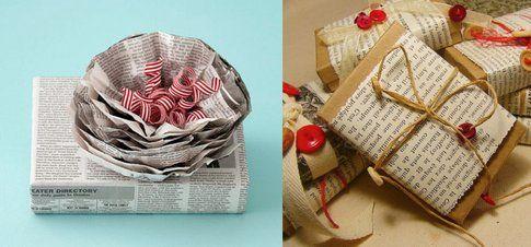 Regali di Natale con fogli di quotidiani e libri - Fonte Pinterest.com