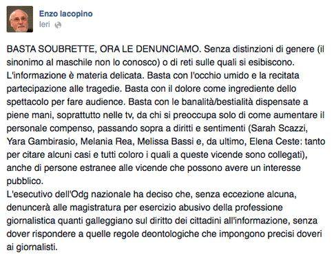 """Iacopino: """"Basta soubrette, ora le denunciamo"""" si accende la polemica online"""