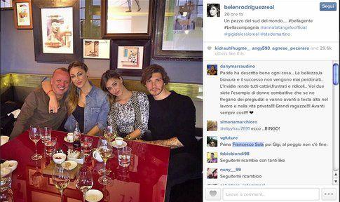 Belen Rodriguez e Stefano De Martino al ristorante con Anna Tatangelo e Gigi D'Alessio