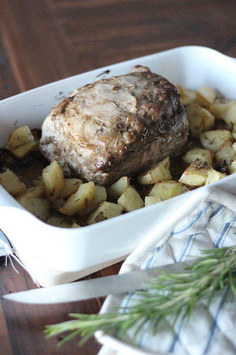 arrosto di maiale alla senape e patate arrosto
