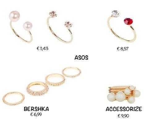 Gli anelli di Asos, Bershka e Accessorize