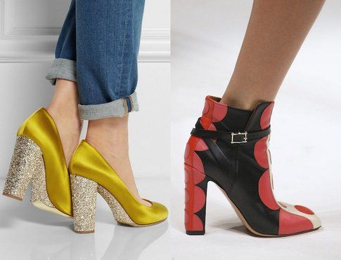 Scarpe con tacco comodo di Miu Miu e Valentino