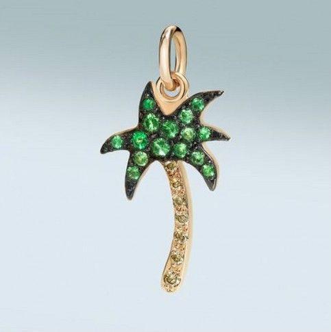 Ciondolo a forma di palma in oro con tzavoriti verdi e diamanti marroni Dodo
