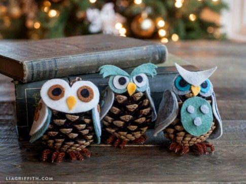 Felt_Ornaments_Pinecone_Owls