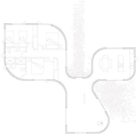 La casa trifoglio di felipe escudero bigodino for Planimetrie della casa del ranch di un livello