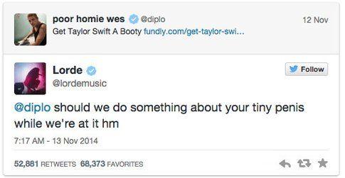 Tweet di Lorde in risposta a Diplo -via Twitter