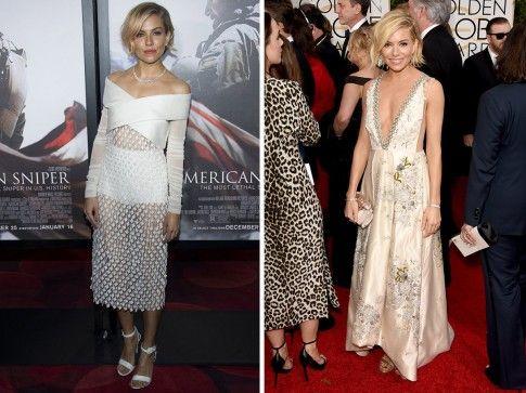 Il look di Sienna Miller. Foto: HollywoodReporter- Vogue.com