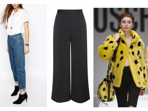 Mom Jeans da Asos.com, Pantaloni Culotte di Bagoes e Pelliccia Spongebob di Moschino