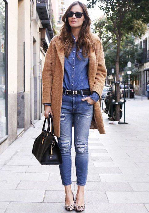 Cappotto color cammello + Look total denim. Fonte: LadyAddict
