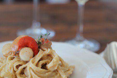 Speciale San Valentino: Linguine alla crema di ceci e cappesante al burro e limone