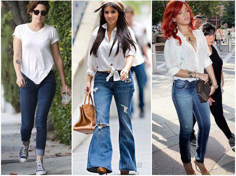 Kristen Stewart, Kim Kardashan e Rihanna in jeans, tshirt e camicia bianca! - fonte:gettyimages.