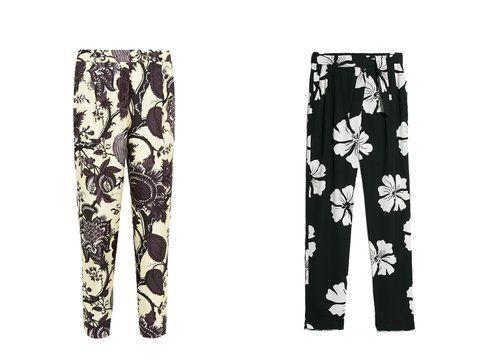 Pantaloni stampati di J. Crew e Mango