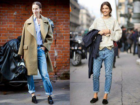Boyfriend jeans + stringate e mocassini. Foto: WhoWhatWear-Elle