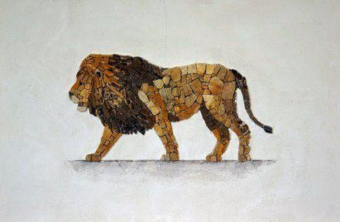 Aneme Mosaico. Panthera leo - 37,5 x 28,5 cm - 2014