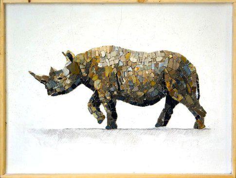 Aneme Mosaico. Diceros bicornis - 37,5 x 28,5 cm - 2014