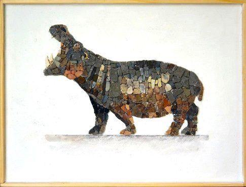 Aneme Mosaico. Hippopotamus amphibius - 37,5 x 28,5 cm - 2014