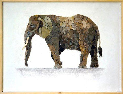 Aneme Mosaico. Loxodonta africana - 37,5 x 28,5 cm - 2014
