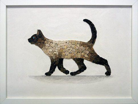 Aneme Mosaico. Felis catus siamensis - 42x32 cm - 2015