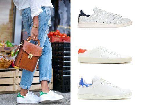 Sneakers bianche. Dall'alto: le sneakers di Adidas, Isabel Marant e Saint Laurent