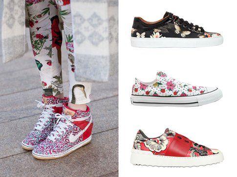 Sneakers con stampe floreali. Dall'alto: le sneakers di Givenchy, Converse e Valentino