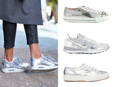 Sneakers metallizzate. Dall'alto: le sneakers di Nike, Miu Miu e Superga